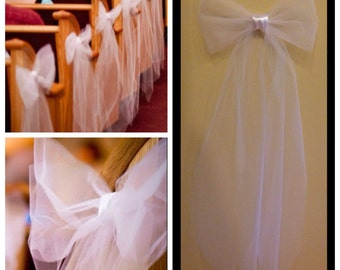 16  White or Ivory tulle/satin pew bows