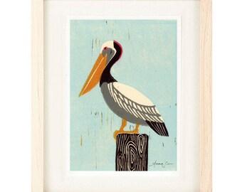 PELICAN Linocut Reproduction Art Print: 4 x 6, 5 x 7