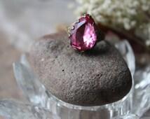Pink Vintage Ring Crown set Pear cut faceted true vintage beauty