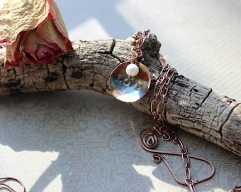 Love Necklace, Torch Fired Domed Copper Necklace with Freshwater Pearl, Rustic meets Modern Necklace, Modern Rustic Earrings, Spring Gifts,