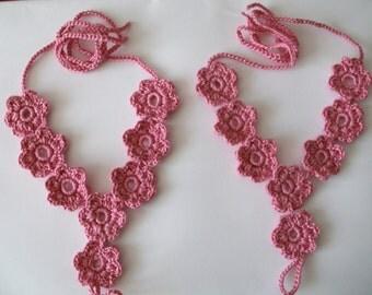 Pink crochet barefoot sandals