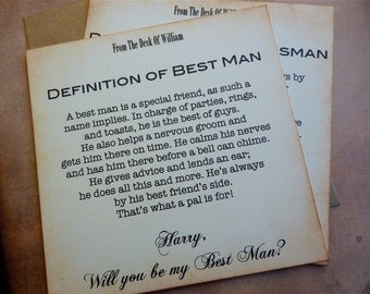 Will You Be My Best Man Invitation Vintage Inspired Classic Styling Personalized