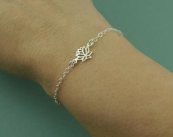 Lotus Charm Bracelet - Womens Sterling Silver Chain Bracelet - Lotus Flower Jewelry, Yoga Bracelet, Dainty Bracelet, Gift for Girlfriend
