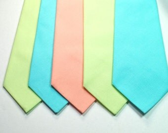 Peach Neckties Custom Neckties Aqua Neckties Wedding Neckties Choose Your Color