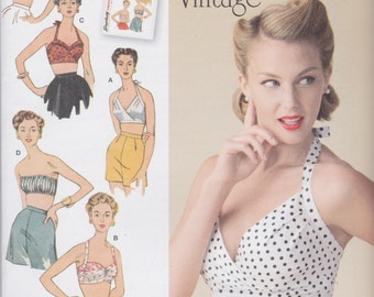 Simplicity Vintage 1950's Style Pattern 1426 Cute Halter Bra Tops With or Without Removable Straps Including Bandeau Top Misses' 4 - 12