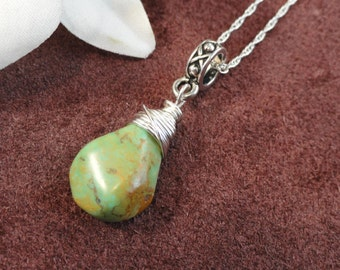 African Turquoise Teardrop, Silver Wire Wrapped Pendant, Necklace