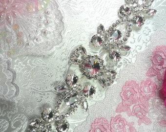 """N14 Silver Crystal Clear Rhinestone Applique Embellishment 10"""" (N14-slcr)"""