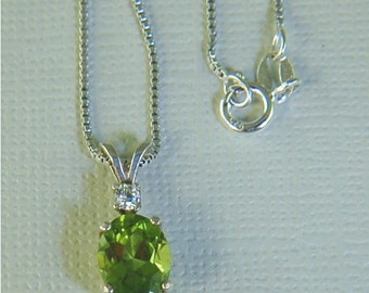 Peridot Necklace Sterling Silver 9x7mm Oval 2ct With White Zircon Accent Natural Untreated