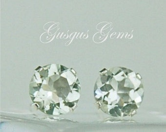 Prasiolite Green Amethyst Stud Earrings 6mm Round 1.50ctw Sterling Silver