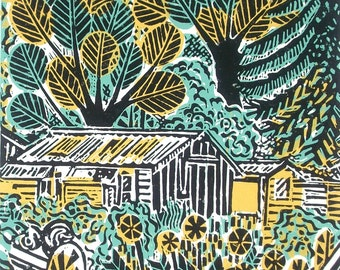 Wilderness with Shed Original Linocut Relief Print