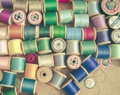 SALE 25% OFF Cotton Reels - Still life photography, sewing photograph, craft room art, colourful art, green and blue shades, home decor