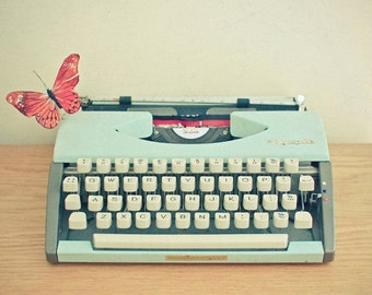 SALE 25% OFF Life is but a Dream - Typewriter photograph, butterfly photo, orange, light blue, library wall art, whimsical decor