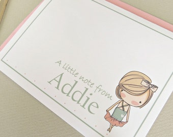 Sweet Little Girl Personalized Stationery Set of 8 with Envelopes Choose Your Girl Look Alike