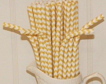 Paper Straws, Made In USA, 20 BENDY Chevron Paper Straws, Yellow Paper Straws, Yellow Paper Straws, Kids Paper Straws, Birthday Party Straws