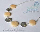 Handmade Aragonite and Yellow Sapphire Fine Silver Necklace