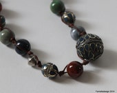 Leather wrapped Ethic Afghan beads with ceramic beads necklace