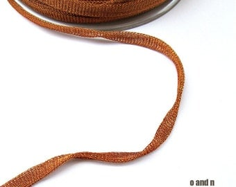 Terracotta wire mesh ribbon, metallic tubular ribbon, 3 meters