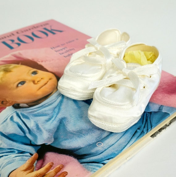 toddletime white satin newborn baby shoes 60s nos vintage