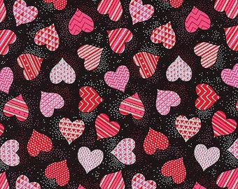 Valentines Day Tossed Hearts Fabric Timeless Treasures GLITTER Patterned Hearts Pink Red on Black