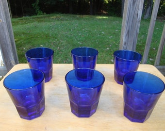 Set of Six Duncan Miller drink glass in Cobalt