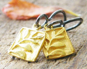 tiny gold rectangle branch dangle earrings sterling silver two sided