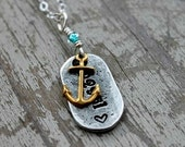personalized location necklace,anchor, zip code hand stamped ,custom necklace