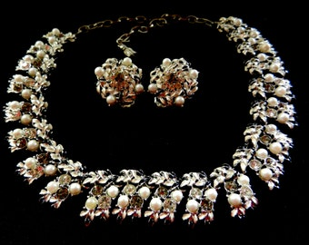 Dazzling Vintage Silvertone with Pearls,White and Black Enamel -Necklace & Earrings set-Queen's jewel, earrings pat pend signed -art.220/3-