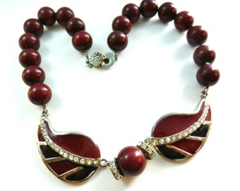 Haute Couture 1970 necklace - signed JEAN PICARD, artistic design jewelry - burgundy & crystals  necklace very good quality-art.424/3 -