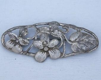 Antique Flower Large Pin Pot Metal Brooch