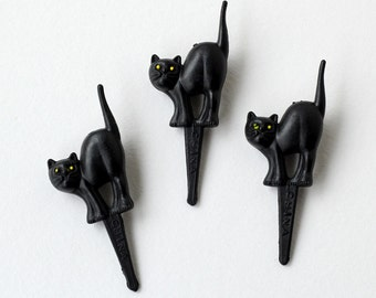 Black Cat Cupcake Picks, Halloween Cat Cupcake Toppers, Halloween Cupcake Picks (12)