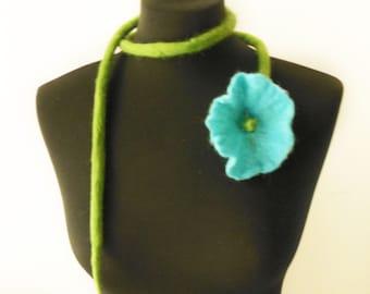 SALE felt flower fiber turquoise necklace lariat