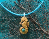 TINY SEAHORSE Hand Carved in West Indian Satin Wood with Turquoise and Sterling Silver