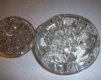 "Antique - Two -  Pressed Glass Domed Flower ""Frog""-  Flower Arranging Base - Many Uses"