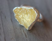 Large Rough Pale Orange Calcite Silver Ring Fall Autumn Yellow Colors Boho Statement Piece Raw Unique Gemstone Slice Design - Pumpkin Slice