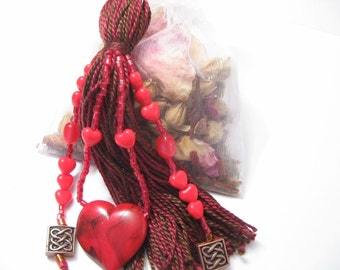 Cinnamon Closet Freshener Potpourri with Red and Brown Heart Beaded Tassel