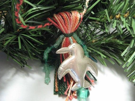 Tropical Penguin Beaded Tassel Christmas Ornament