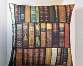 Pillow Cover New LIBRARY BOOKS VINTAGE 18 Inches, A Classics Book Cover, Unique and Interesting Decor