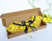 Wedding Bridal Garter with yellow color Lace Embellishment and flower, royal blue bow