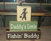 NEW DESIGN-- Boys Daddy's Little Fishing Buddy Primitive Wood Sign Blocks Nursery Decor Kids Room Shower Gift