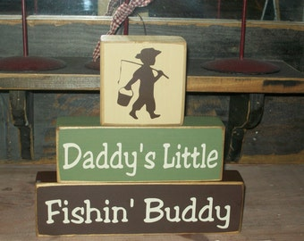 NEW DESIGN-- Boys Daddy's Little Fishing Buddy Primitive Wood Sign Blocks Nursery Decor Kids Room Shower Gift
