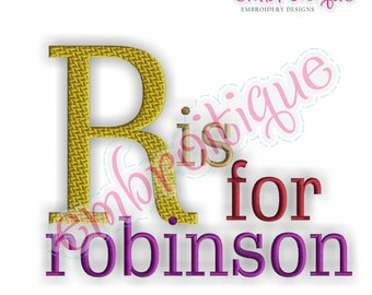 Robinson Monogram Font Set - Small- Machine Embroidery Font Alphabet Letters  - Instant Email Delivery Download