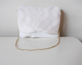 Bone White 70s Beaded Shoulder Bag