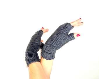 Christmas Gifts, Grey Mittens,  Belted Mittens, Handmade Mittens, Pom Pom Mittens, Handknit Mittens