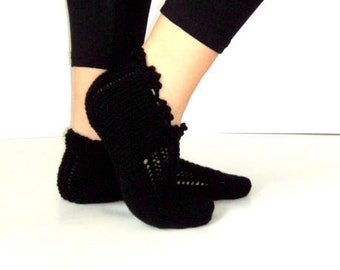 Black Slippers, Winter, Dantela,  Wool Slippers, House Slippers, Handknit Slippers