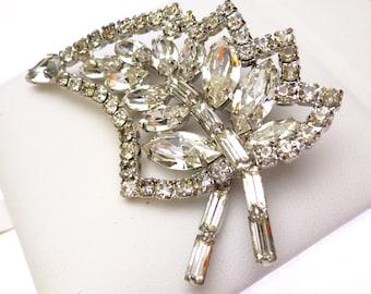 Clear Rhinestone Leaf Brooch Silver Tone