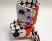 3-6 months White Flowers on Orange with Brown Polka Dots Baby Boots - READY TO SHIP