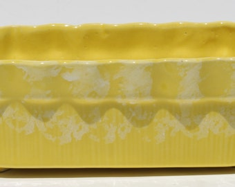 Vintage Brush McCoy Pottery Yellow and White Drip Glaze Rectangular Planter