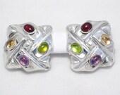 Huge pre owned estate clip on post earrings sterling silver with garnet peridot citrine amethyst gemstone