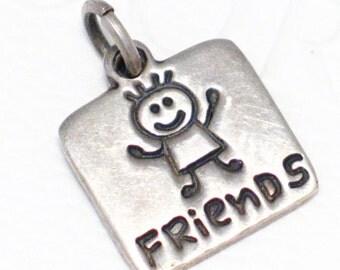 Friends theme 925 sterling silver bracelet charm or pendant engravable