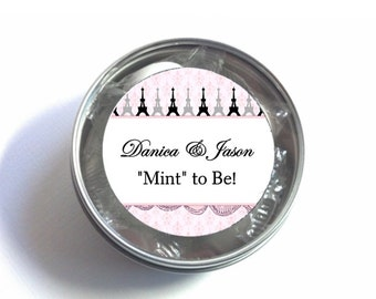 """1"""", 1.5"""" or 2""""  Stickers, Favor Labels, Pink, French Eiffel Tower, Paris Theme, Weddings, Bridal or Baby Shower, Birthday"""